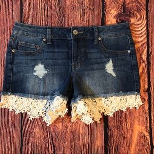 Altar'd State Distressed lace jean shorts Size 28